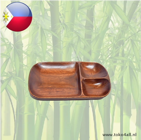 Toko 4 All - My Little Philippines - 3 compartment Oval dish 30 x 18 x 3 cm Kahoy