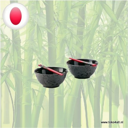 Toko 4 All - Bowl set black flowers with chopsticks