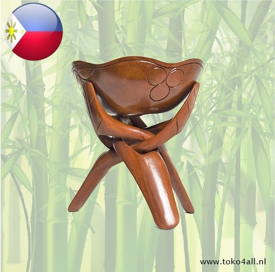 Toko 4 All - My Little Philippines - Fruitschaal op statief 25 x 25 x 28 cm Kahoy