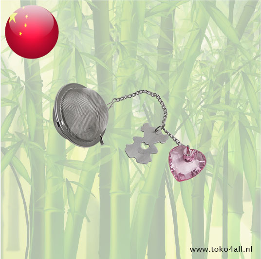 Toko 4 All - Mesh Teaball with pink heart stainless steel 5 cm