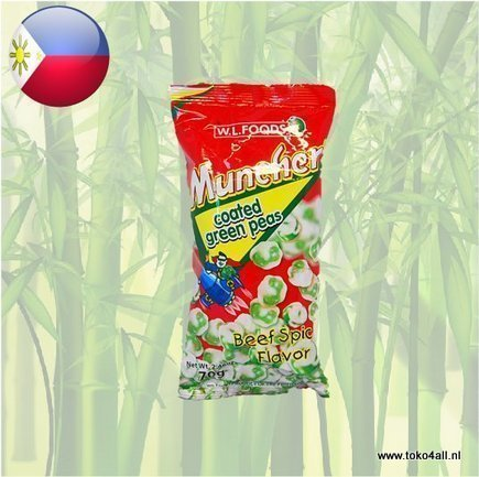 Toko 4 All - Muncher Coated Green Peas Spicy Beef flavor 70 gr W.L.