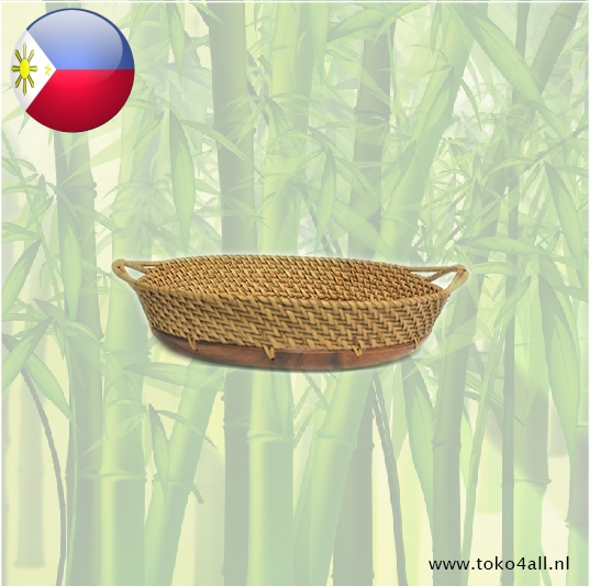Toko 4 All - Round serving tray with rattan handle 33 x 33 x 7 cm Kahoy