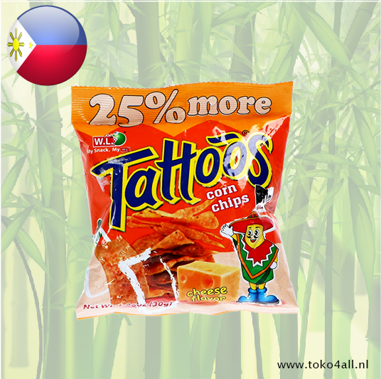 Toko 4 All - My Little Philippines - Tattoos Corn Chips Cheese 30 gr W.L.