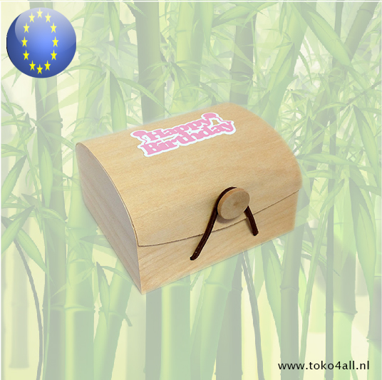 Toko 4 All - Wooden Gift box Happy Birthday Girl 9 x 10 x 6 cm