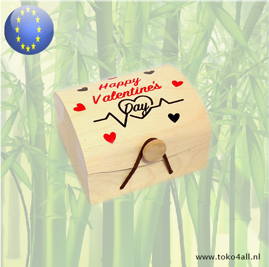 Toko 4 All - Wooden Gift box Happy Valentines Day 9 x 10 x 6 cm